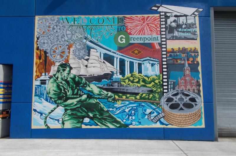 The mural reflects the past, present, and future of Greenpoint.