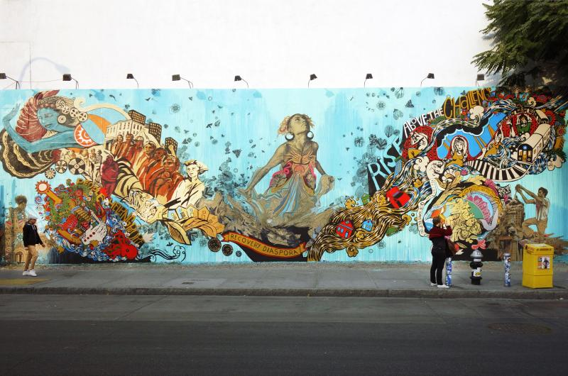 """Recovery Diaspora"" was temporarily installed on the famed Bowery Mural wall. Photo credit Randy Duchaine."