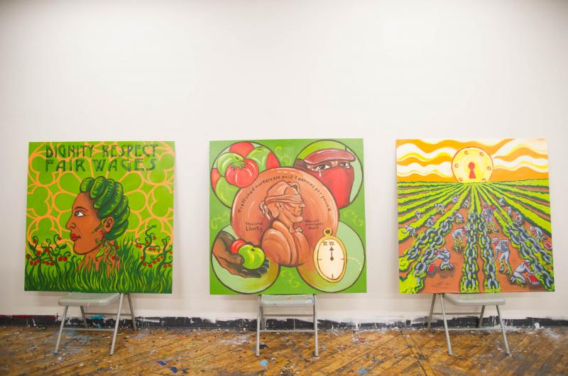 The seven panels were unveiled at Groundswell's studio before being prepared to travel to college campuses across the country.