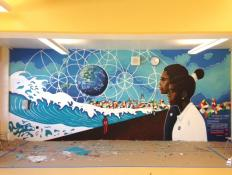 "The completed mural is entitled ""The Explosion of Wonder."""